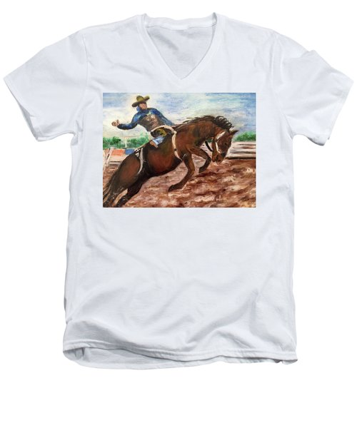 Cowboy In A Rodeo Men's V-Neck T-Shirt
