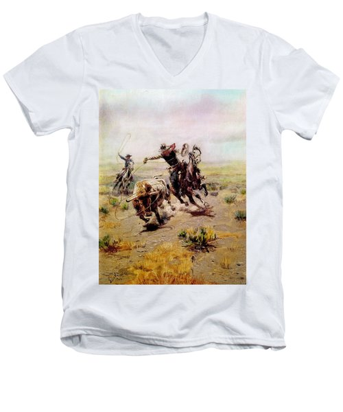 Cowboy Roping A Steer Men's V-Neck T-Shirt