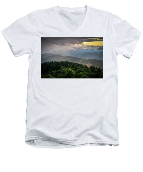 Cowee Mountain Sunset Men's V-Neck T-Shirt by Serge Skiba