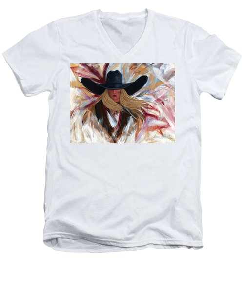 Men's V-Neck T-Shirt featuring the painting Cowgirl Colors by Lance Headlee