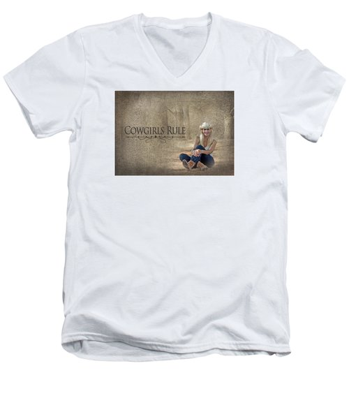 Cowgirls Rule Men's V-Neck T-Shirt by Trudy Wilkerson