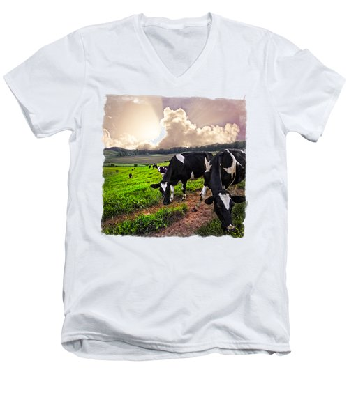 Cows At Sunset Bordered Men's V-Neck T-Shirt by Debra and Dave Vanderlaan