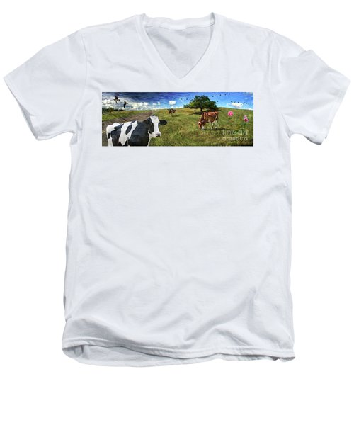 Cows In Field, Ver 3 Men's V-Neck T-Shirt