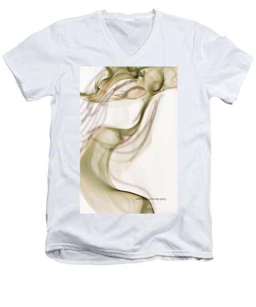 Men's V-Neck T-Shirt featuring the photograph Coy Lady In Hat Swirls by Vicki Ferrari