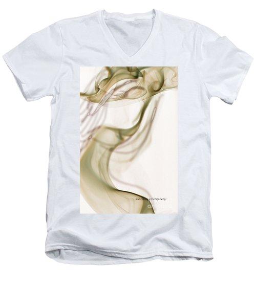 Coy Lady In Hat Swirls Men's V-Neck T-Shirt