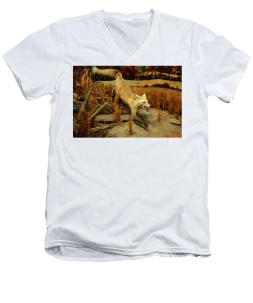 Men's V-Neck T-Shirt featuring the digital art Coyote  by Chris Flees