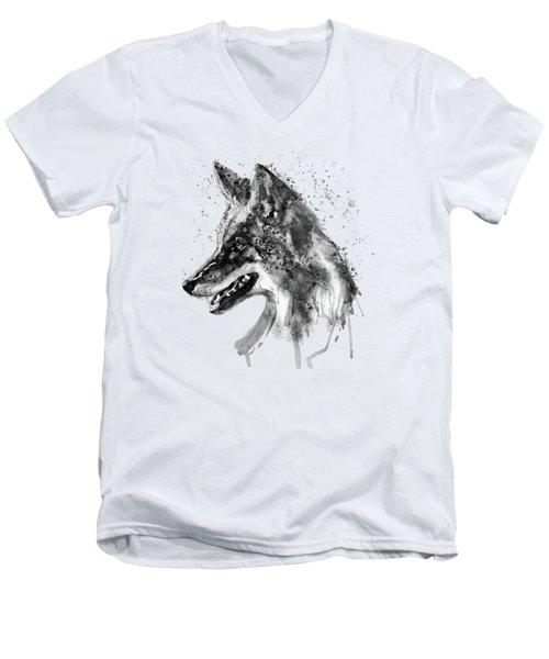 Men's V-Neck T-Shirt featuring the mixed media Coyote Head Black And White by Marian Voicu
