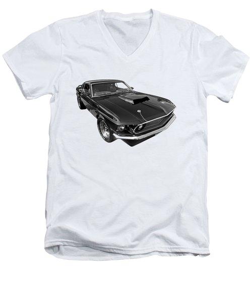 Coz I Can Black And White Men's V-Neck T-Shirt