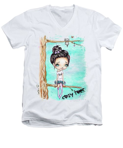 Men's V-Neck T-Shirt featuring the painting Cozy Toes by Lizzy Love