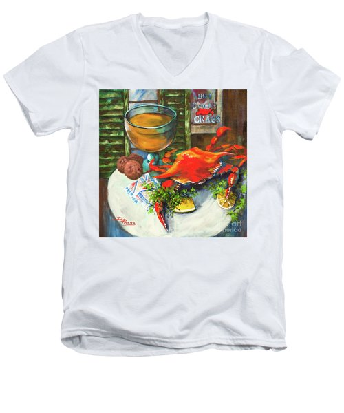 Men's V-Neck T-Shirt featuring the painting Crab And Crackers by Dianne Parks