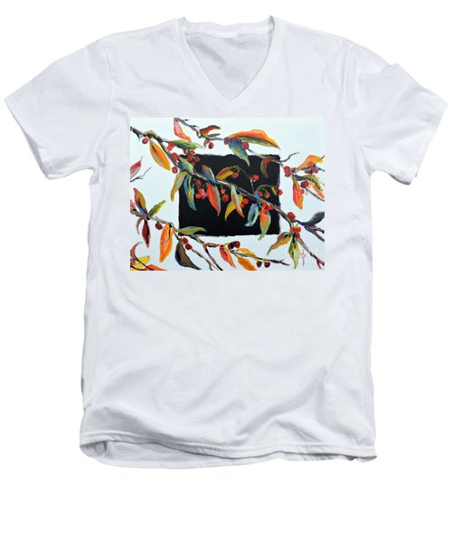 Men's V-Neck T-Shirt featuring the painting Crabapple Branches With Black by Jodie Marie Anne Richardson Traugott          aka jm-ART