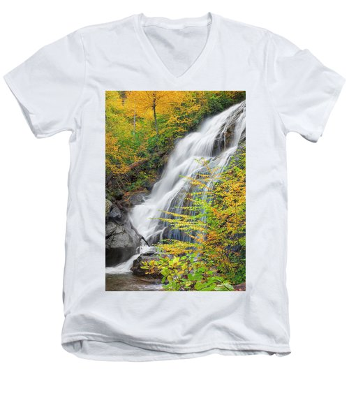 Crabtree Falls In The Fall Men's V-Neck T-Shirt by David Cote