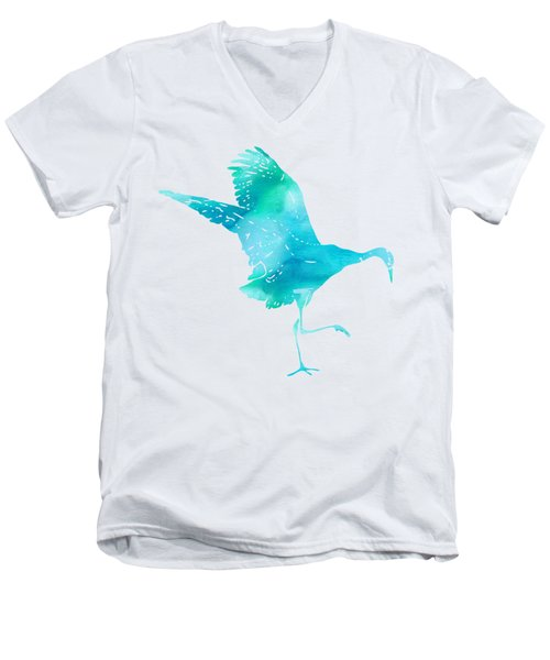 Crane Ready For Flight - Blue-green Watercolor Men's V-Neck T-Shirt by Custom Home Fashions