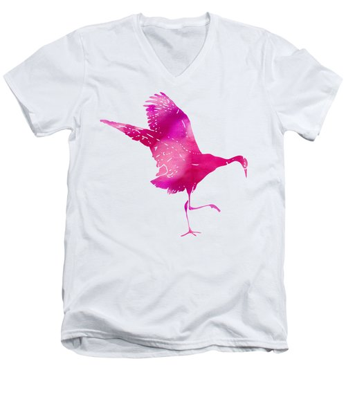 Crane Ready For Flight - Pink Watercolor Men's V-Neck T-Shirt by Custom Home Fashions