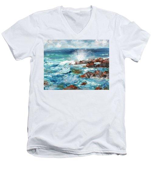 Crashing Waves Men's V-Neck T-Shirt by Walter Fahmy