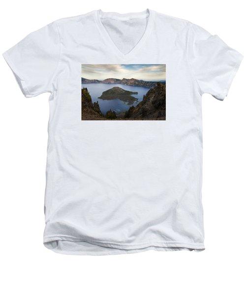 Crater Lake At Sunset Men's V-Neck T-Shirt