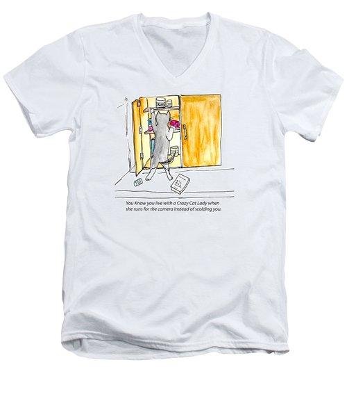 Crazy Cat Lady 001 Men's V-Neck T-Shirt by Lou Belcher