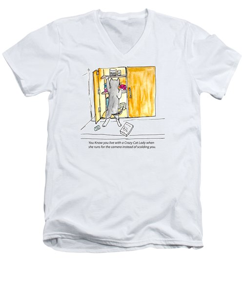 Crazy Cat Lady 001 Men's V-Neck T-Shirt