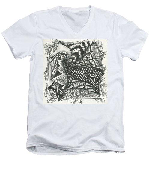 Crazy Spiral Men's V-Neck T-Shirt by Jan Steinle