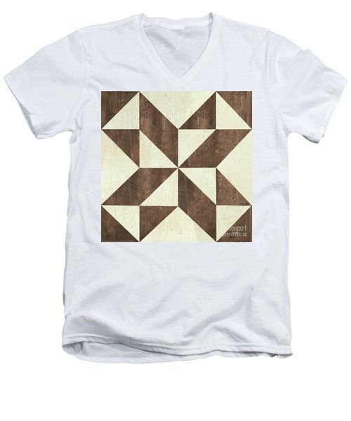 Men's V-Neck T-Shirt featuring the painting Cream And Brown Quilt by Debbie DeWitt