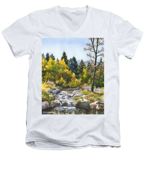 Creek At Caribou Men's V-Neck T-Shirt by Anne Gifford
