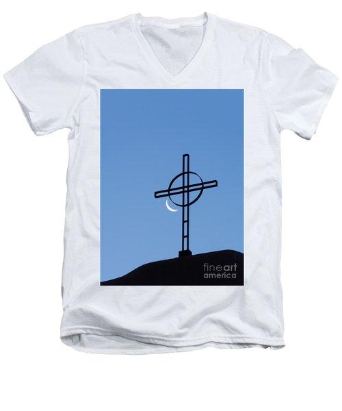 Crescent Moon And Cross Men's V-Neck T-Shirt