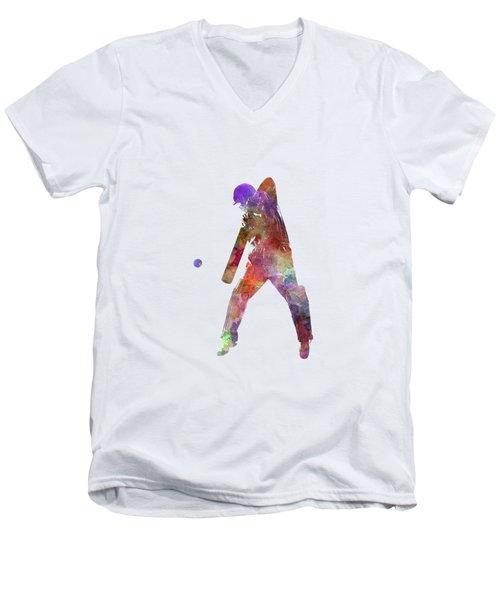 Cricket Player Batsman Silhouette 02 Men's V-Neck T-Shirt