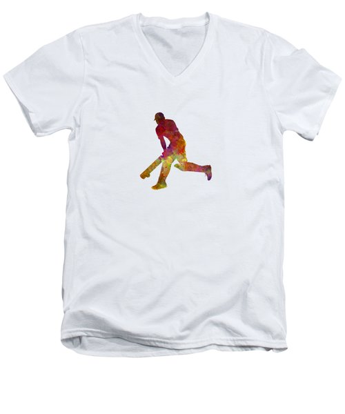 Cricket Player Batsman Silhouette 03 Men's V-Neck T-Shirt by Pablo Romero
