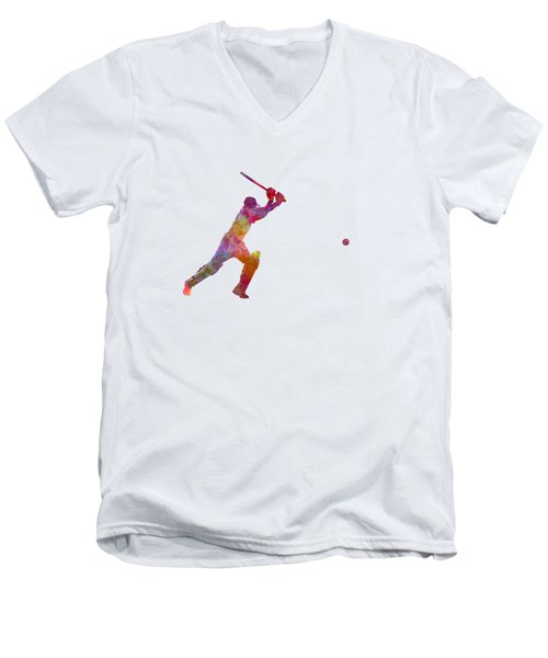 Cricket Player Batsman Silhouette 04 Men's V-Neck T-Shirt by Pablo Romero