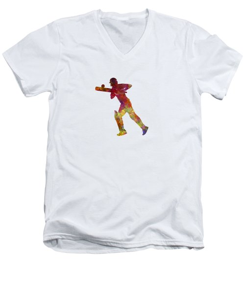 Cricket Player Batsman Silhouette 06 Men's V-Neck T-Shirt by Pablo Romero