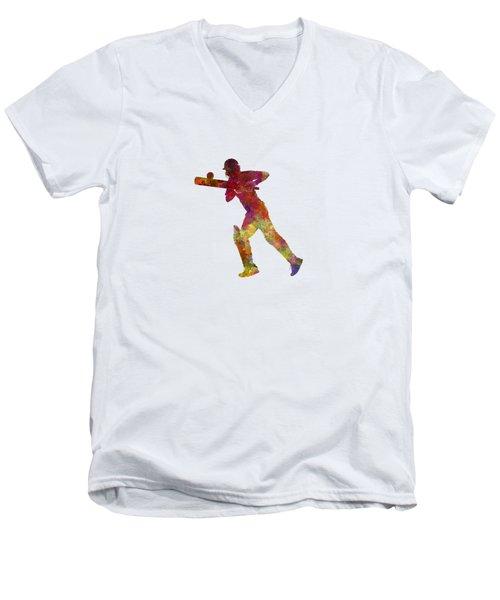 Cricket Player Batsman Silhouette 06 Men's V-Neck T-Shirt