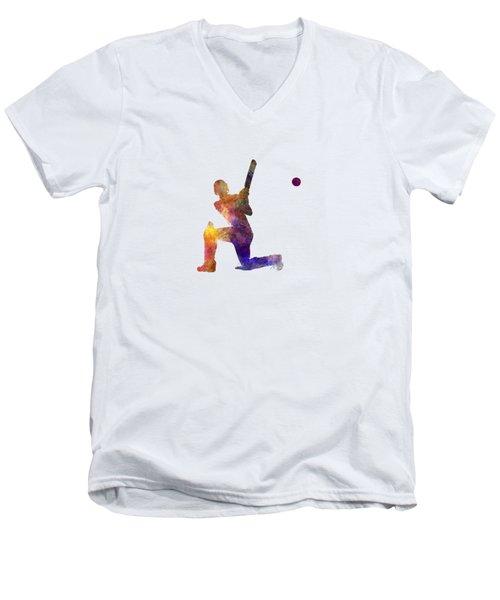 Cricket Player Batsman Silhouette 08 Men's V-Neck T-Shirt