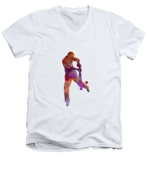 Cricket Player Batsman Silhoutte Men's V-Neck T-Shirt