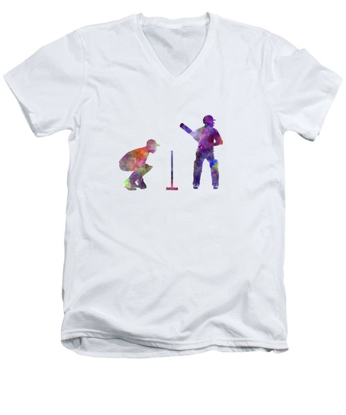 Cricket Player Silhouette Men's V-Neck T-Shirt by Pablo Romero