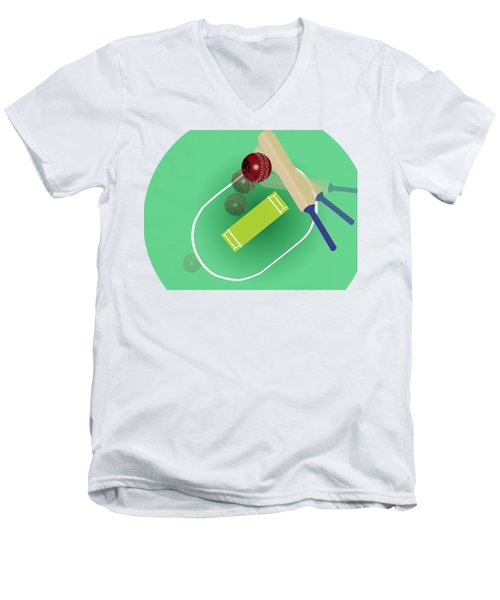 Cricket Men's V-Neck T-Shirt by Smita Kadam