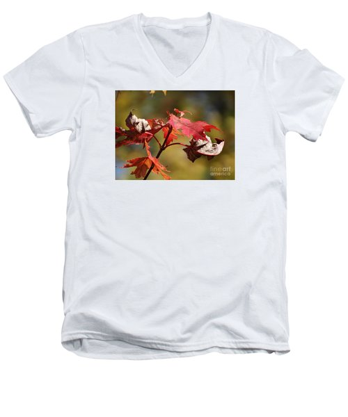 Men's V-Neck T-Shirt featuring the photograph Crimson Fall by J L Zarek