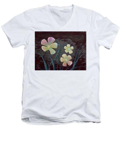 Crimson Flower Men's V-Neck T-Shirt