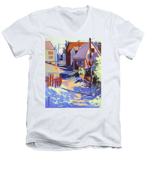 Men's V-Neck T-Shirt featuring the painting Crisscross by Rae Andrews