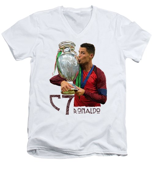 Cristiano Ronaldo Men's V-Neck T-Shirt by Armaan Sandhu