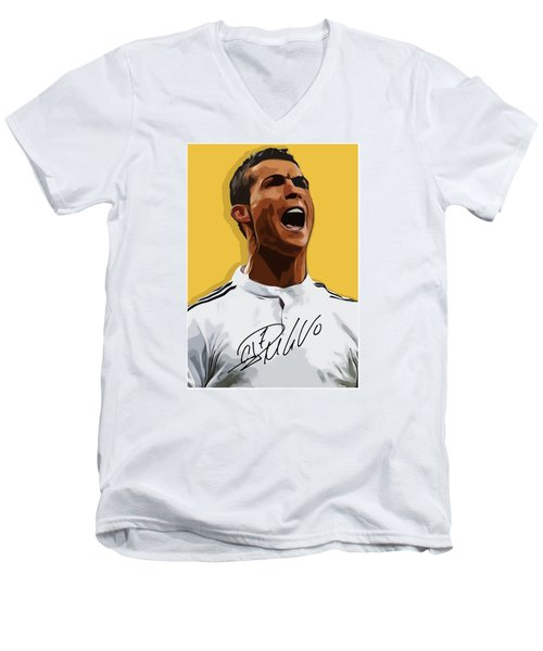 Cristiano Ronaldo Cr7 Men's V-Neck T-Shirt by Semih Yurdabak
