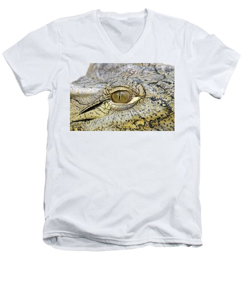 Men's V-Neck T-Shirt featuring the photograph Crocodile Eye by George Atsametakis