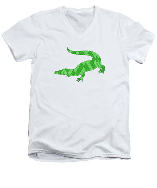 Crocodile Men's V-Neck T-Shirt by Mordax Furittus