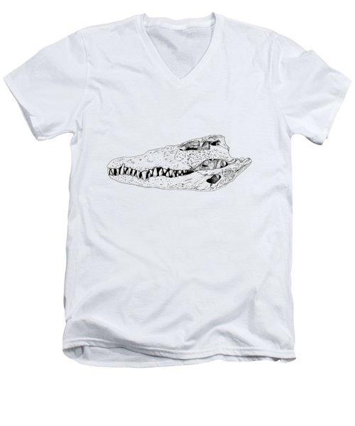 Crocodile Skull Men's V-Neck T-Shirt by Yuriy Shachnev