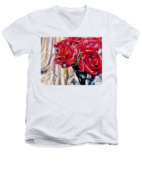 Men's V-Neck T-Shirt featuring the painting Crimson  Petals by Rebecca Glaze