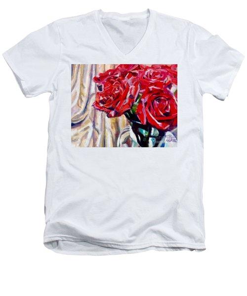 Crimson  Petals Men's V-Neck T-Shirt