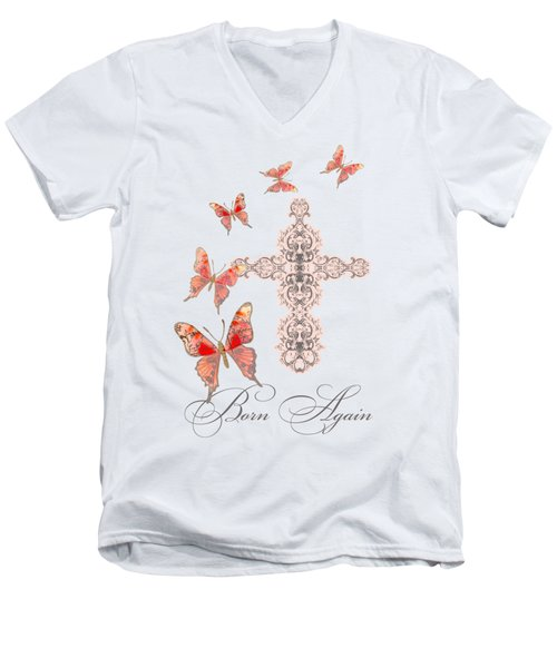 Cross Born Again Christian Inspirational Butterfly Butterflies Men's V-Neck T-Shirt by Audrey Jeanne Roberts