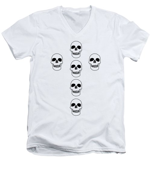 Cross In Skulls Clothing And Decor Men's V-Neck T-Shirt
