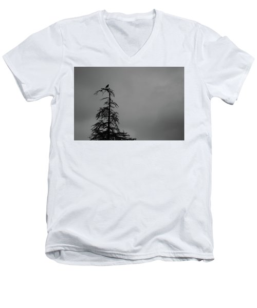 Crow Perched On Tree Top - Black And White Men's V-Neck T-Shirt by Matt Harang