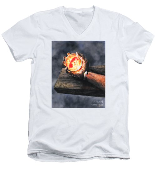 Men's V-Neck T-Shirt featuring the painting Crucifixion Version One Glen Concept by Dave Luebbert