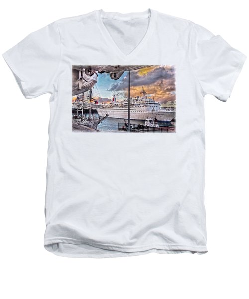 Men's V-Neck T-Shirt featuring the photograph Cruise Port - Light by Hanny Heim